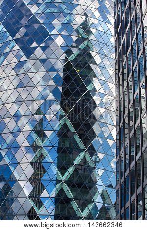 LONDON UK - SEPTEMBER 19, 2015: Gherkin building, Modern glass texture. City of London