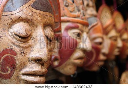 Central America Mayan clay masks at the market in Guatemala