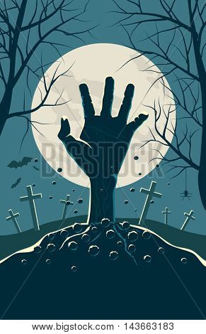 Zombie hand breaking out from under the ground Halloween background. Banner, poster or invitation vector template.
