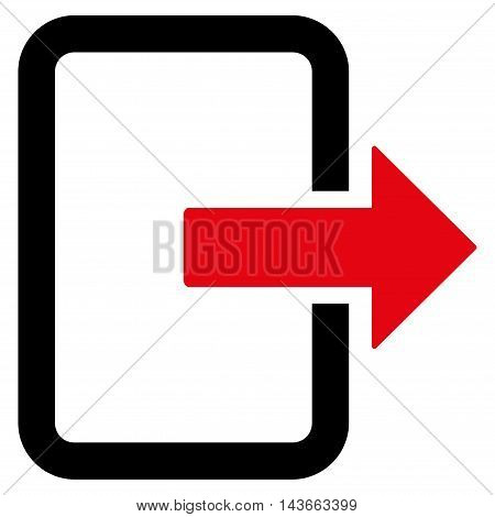 Exit Door icon. Vector style is bicolor flat iconic symbol with rounded angles, intensive red and black colors, white background.