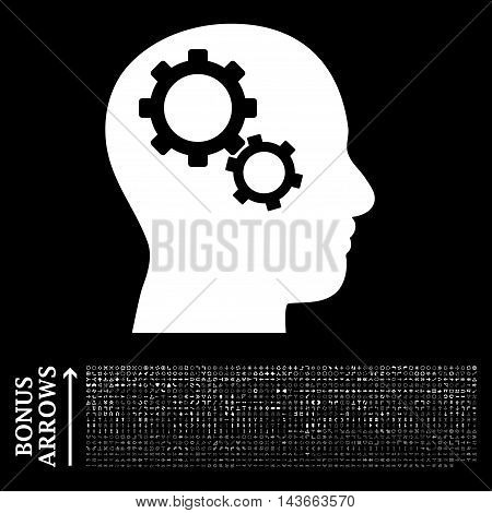 Brain Gears icon with 1200 bonus arrow and direction pictograms. Vector illustration style is flat iconic symbols, white color, black background.