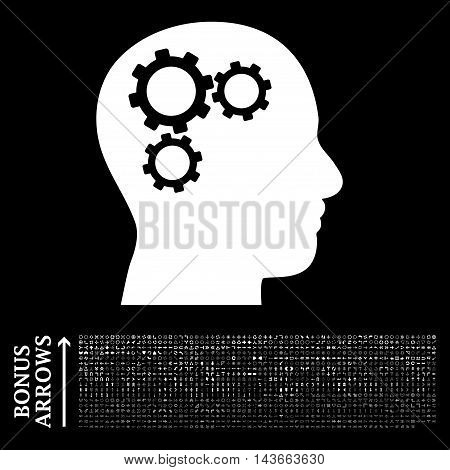 Brain Gears icon with 1200 bonus arrow and navigation pictograms. Vector illustration style is flat iconic symbols, white color, black background.