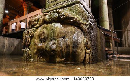 Medusa Column Base In Basilica Cistern, Istanbul City