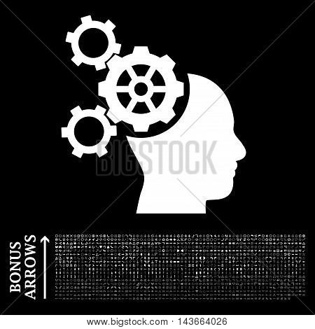 Brain Mechanics icon with 1200 bonus arrow and direction pictograms. Vector illustration style is flat iconic symbols, white color, black background.