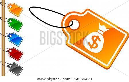Money tag set. Vector illustration.