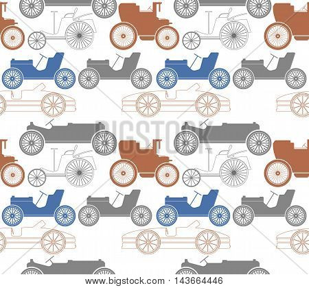 Endless pattern with old cars. Perfect template for  retro card, paper, linen, tissue ,design fabric and more creative designs.