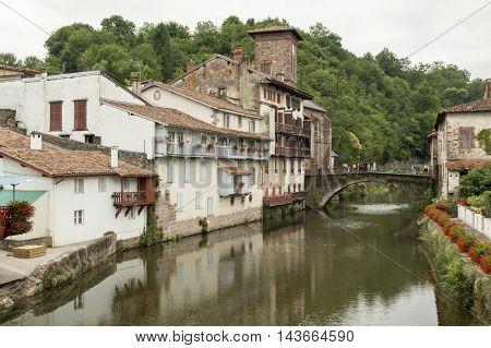 River and bridge Saint Jean Pied de Port in France.
