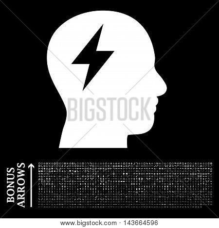 Brainstorming icon with 1200 bonus arrow and direction pictograms. Vector illustration style is flat iconic symbols, white color, black background.