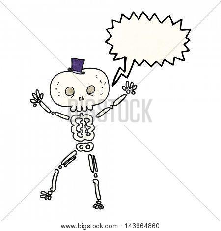 freehand speech bubble textured cartoon dancing skeleton
