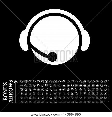 Call Center Operator icon with 1200 bonus arrow and direction pictograms. Vector illustration style is flat iconic symbols, white color, black background.