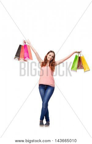 Happy woman after good shopping isolated on white