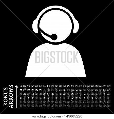 Call Center Operator icon with 1200 bonus arrow and navigation pictograms. Vector illustration style is flat iconic symbols, white color, black background.