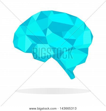 Blue brain polygon business concept. Abstract vector illustration on the white background.