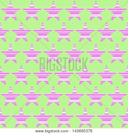Geometric pattern by striped stars. Seamless vector background in pink green and white colors.