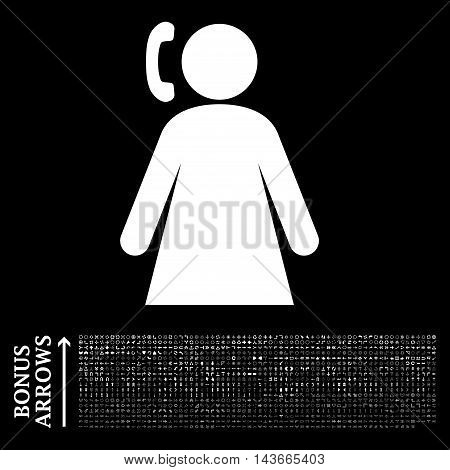 Calling Woman icon with 1200 bonus arrow and direction pictograms. Vector illustration style is flat iconic symbols, white color, black background.