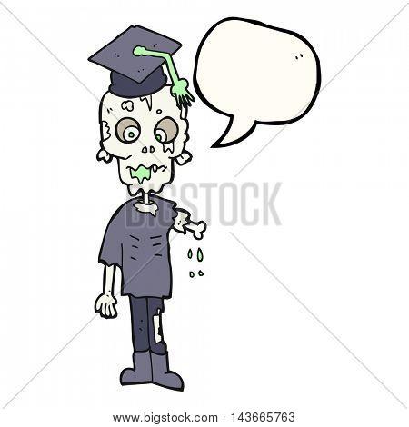 freehand drawn speech bubble cartoon zombie student