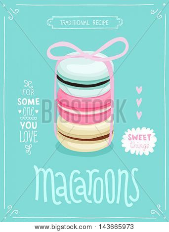 Macaroons Poster - template for your design. Vector illustration.