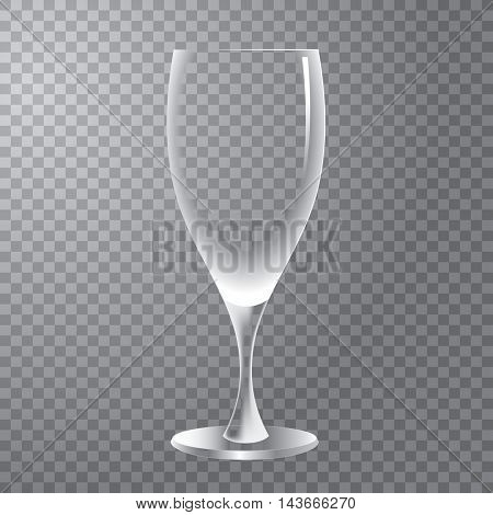 empty transparent wine glass, vector layered editable illustration