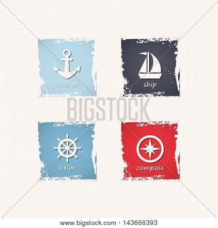 Anchor ship steering wheel and compass grungy icons. Vector