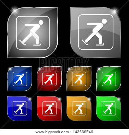 Ice Skating Icon Sign. Set Of Ten Colorful Buttons With Glare. Vector