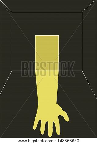 door, hand, halloween, fear, joke, dark room, yellow, night, sleep, дверь, рука,
