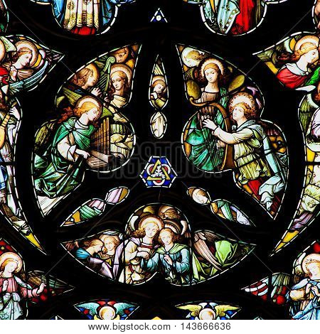EDINBURGH SCOTLAND - OCTOBER 02, 2014: Stained glass window in the St Giles' Cathedral of Edinburgh Scotland UK.