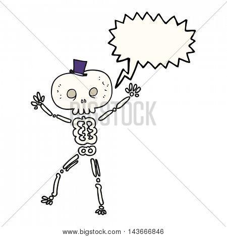 freehand drawn speech bubble cartoon dancing skeleton