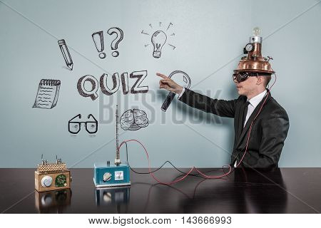 Quiz concept with vintage businessman pointing hand