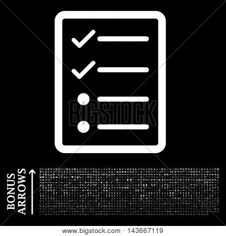 Checklist Page icon with 1200 bonus arrow and direction pictograms. Vector illustration style is flat iconic symbols, white color, black background.