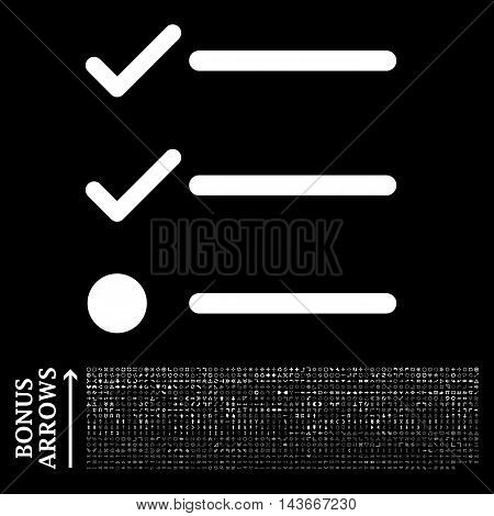 Checklist icon with 1200 bonus arrow and navigation pictograms. Vector illustration style is flat iconic symbols, white color, black background.