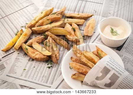 Fries French Mayonnaise Herb Still Life