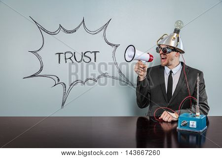 Nerd Business Science Man with speech bubble