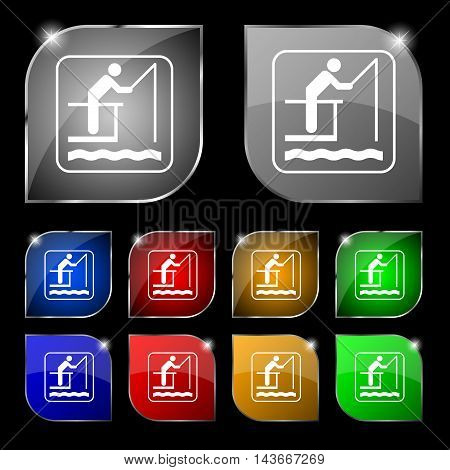 Fishing Icon Sign. Set Of Ten Colorful Buttons With Glare. Vector