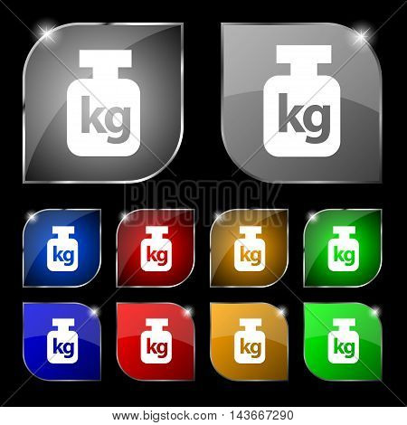 Weight Icon Sign. Set Of Ten Colorful Buttons With Glare. Vector