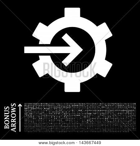 Cog Integration icon with 1200 bonus arrow and navigation pictograms. Vector illustration style is flat iconic symbols, white color, black background.