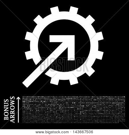 Cog Integration icon with 1200 bonus arrow and direction pictograms. Vector illustration style is flat iconic symbols, white color, black background.