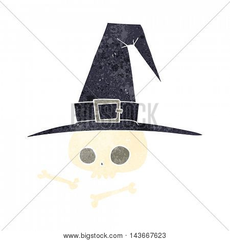 freehand retro cartoon witch hat with skull