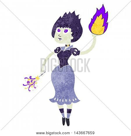 freehand retro cartoon vampire girl casting fireball
