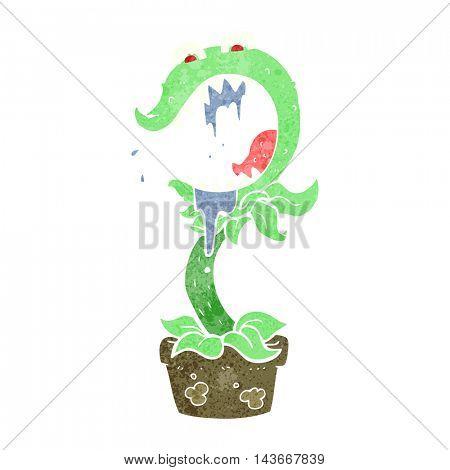 freehand drawn retro cartoon carnivorous plant