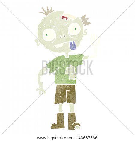 freehand retro cartoon zombie