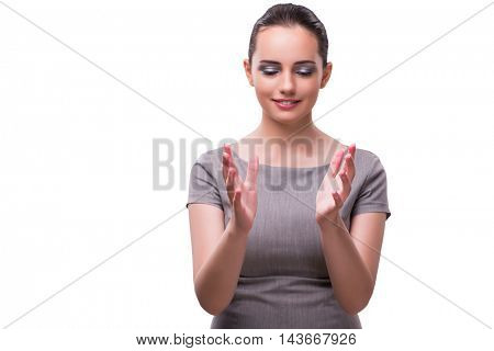 Young businesswoman holding hands isolated on white
