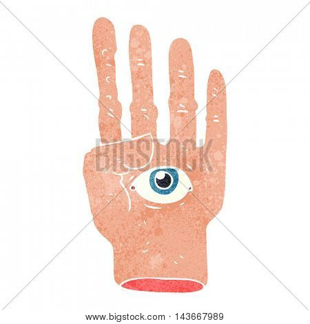 freehand retro cartoon spooky hand with eyeball