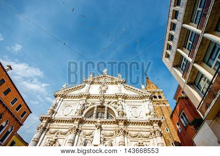 Front facade of San Moise church in Venice