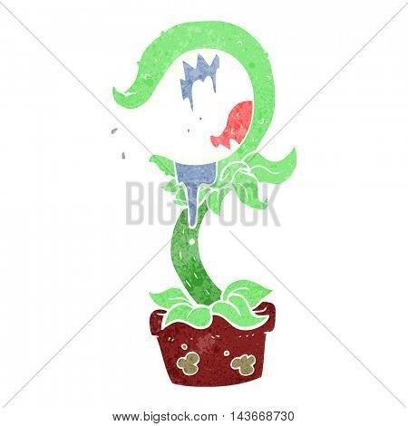 freehand retro cartoon carnivorous plant