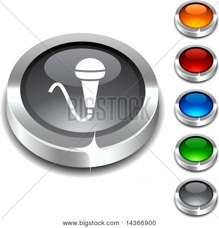 Mic 3d button set. Vector illustration.