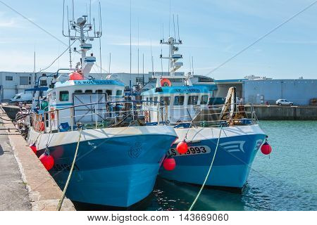 Saint Gilles Croix de Vie France - July 27 2016 : trawlers are returned to port after fishing off