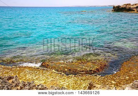 Beautiful blue sea and rocks in Ayia Napa Cyprus