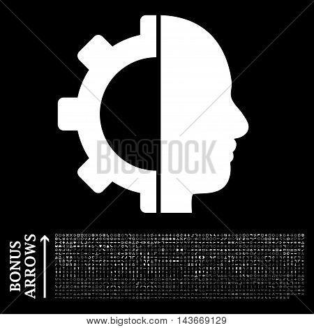 Cyborg Gear icon with 1200 bonus arrow and direction pictograms. Vector illustration style is flat iconic symbols, white color, black background.