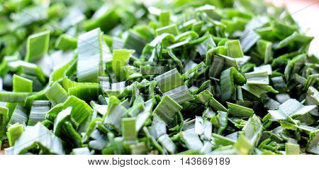 picture of a chopped green onions .leek texture