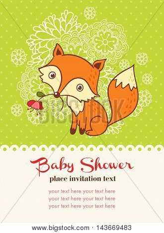 Vector illustration of a fox and a flower with a place for your text.